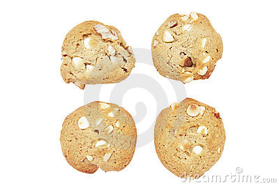 Four Cookie Biscuits With White Chocolate And Nuts