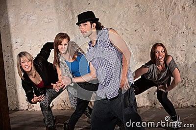 Four Cool Hip Hop Dancers