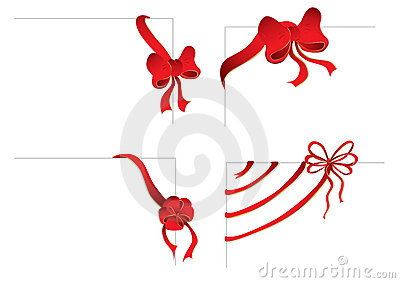 Four corners with red bows