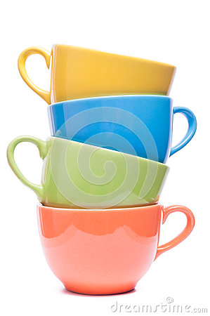 Free Four Cups Stacked. Colored Mugs. Colorful Image With Tableware. Royalty Free Stock Photo - 65720015