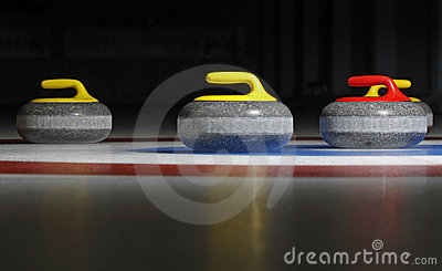 Four curling stones