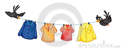 Four different clothes hanging with birds