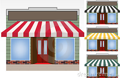 Four different color  awnings