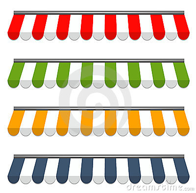Four different colored  awnings