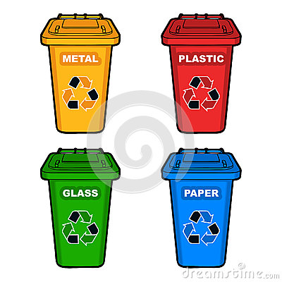 Four different colored recycling bins Vector Illustration