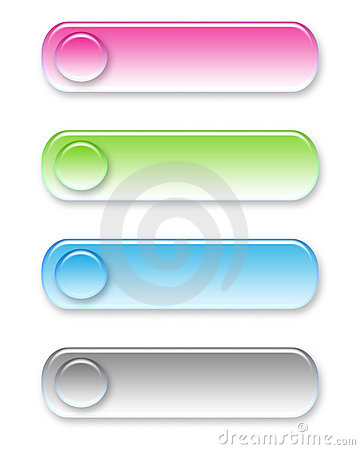 Four different colored web buttons