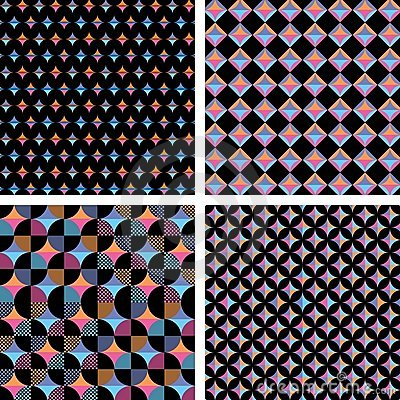 Four different seamless geometric composition