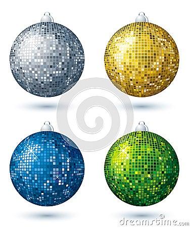 Four  disco balls, vector