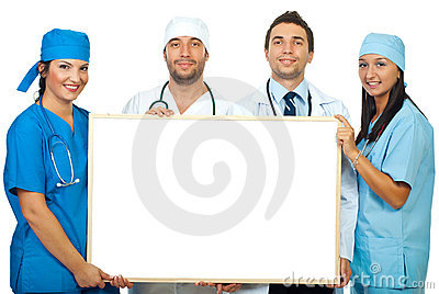 Four doctors holding blank banner