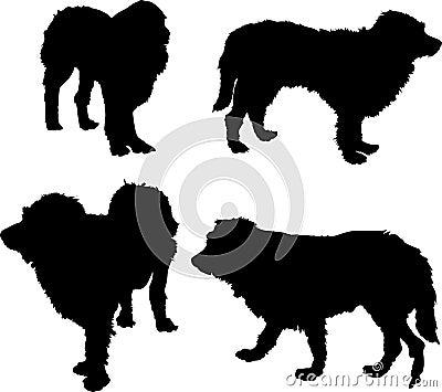 Four dog silhouettes