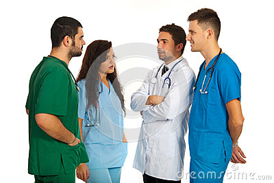 Four dosctors having discussion