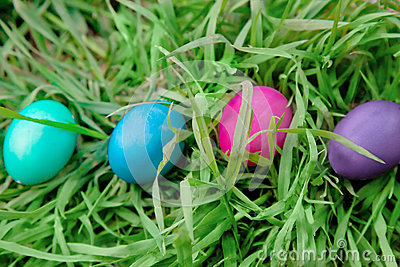 Four Easter eggs in the grass Stock Photo