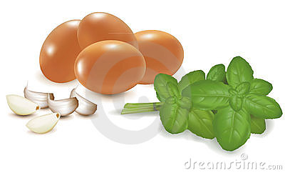 Four eggs with basil and garlic.