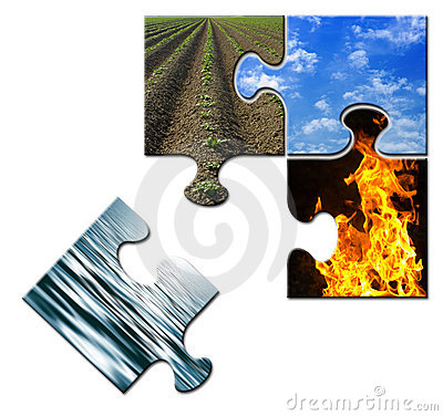 Four elements in a puzzle - water apart