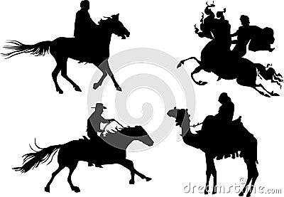 Four equestrian silhouettes