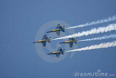 Four F/A-18s preform a flyby Editorial Photography