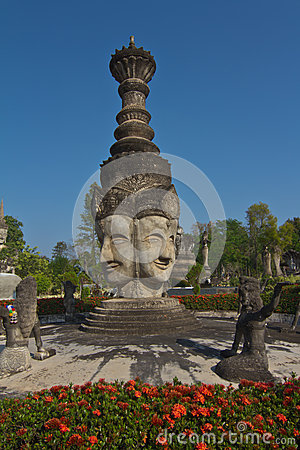 Four faces buddha statue in hindu style, thai temple thailand