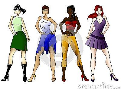 Four fashionable girls