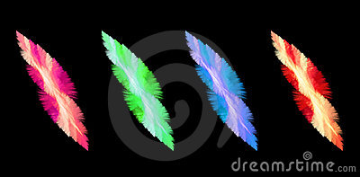 Four Feathery Abstract Elements