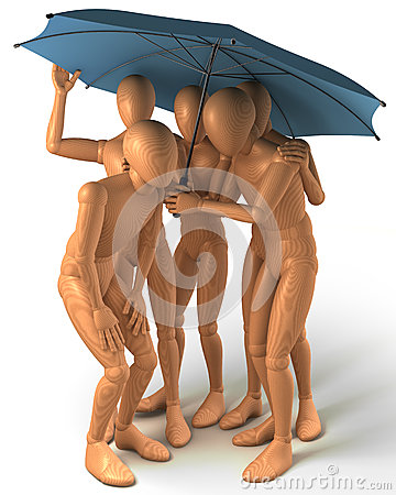 Four figures standing under umbrella
