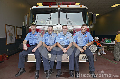 Four firemen Editorial Photo