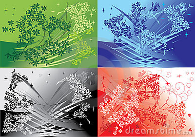 Four floral backgrounds set