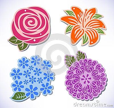 Four flowers (rose, chrysanthemum, hydrangea, lily