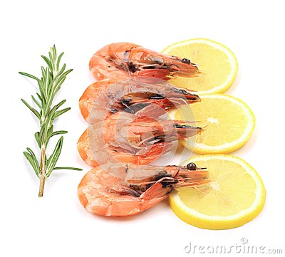 Four fresh boiled shrimps.