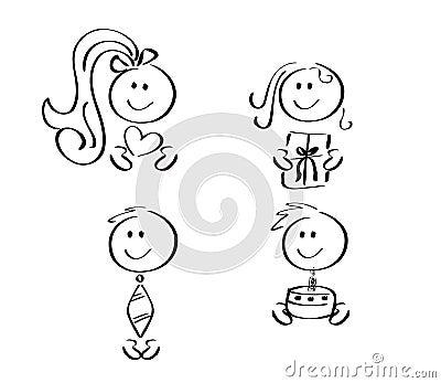 Four friendly family icons