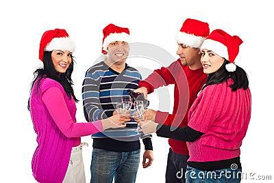 Four  friends celebrate Christmas night