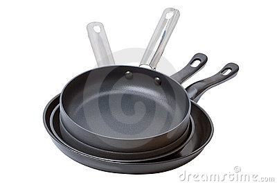 Four frying pans on White