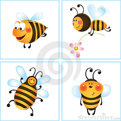 Four funny bees