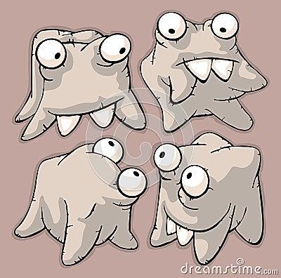Four funny cute teeth