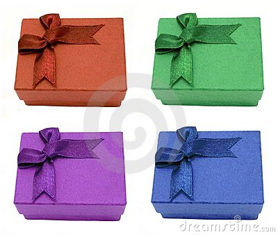 Four gift boxes with bows