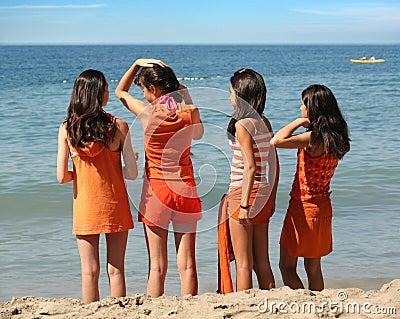 Four girls on the beach