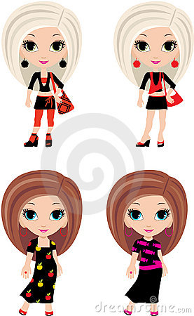 Four girls cartoon