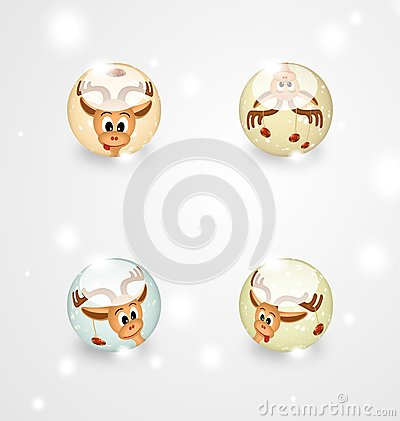 Four glass spheres with funny christmas reindeers