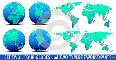 Four Global Worlds and Two world maps - SET TWO