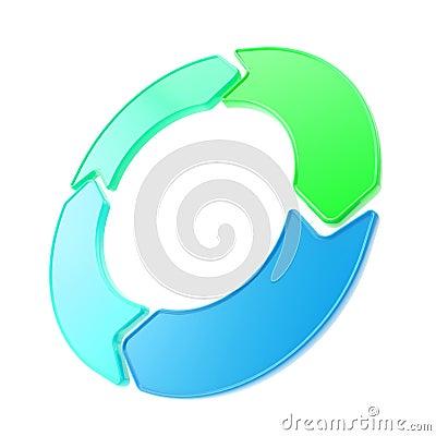 Four glossy arrow copyspace emblem circlular round tag