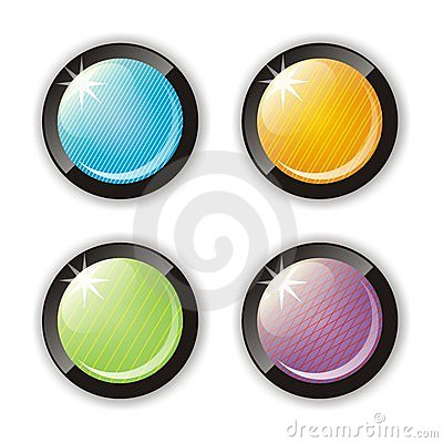 Four glossy buttons