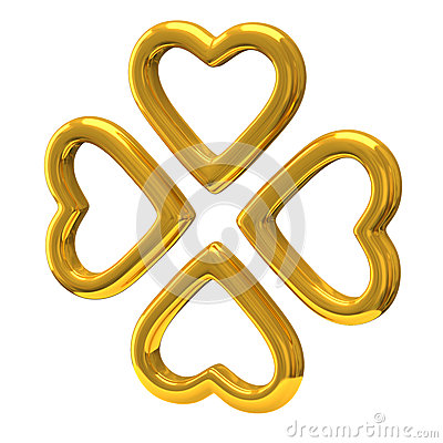 Four golden hearts as four-leaf clover 3d