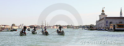 Four gondoliers Editorial Stock Image