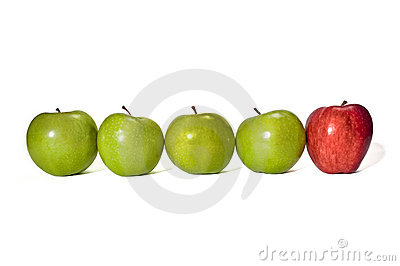 Four Green Apples With One Red Apple