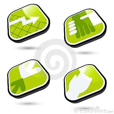 Four green business icons