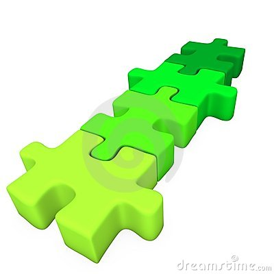 Four green puzzle pieces