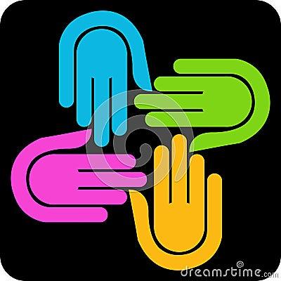 Free Four Hand Logo Royalty Free Stock Photos - 20134048