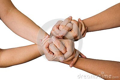 Four hands holding each other