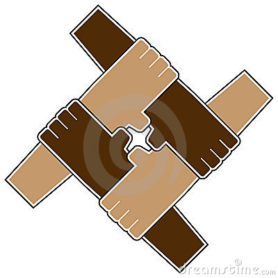 Four hands teamwork symbol