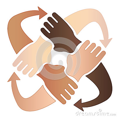 Four hands together Stock Photo