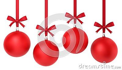 Four hanging christmas balls with nice bow